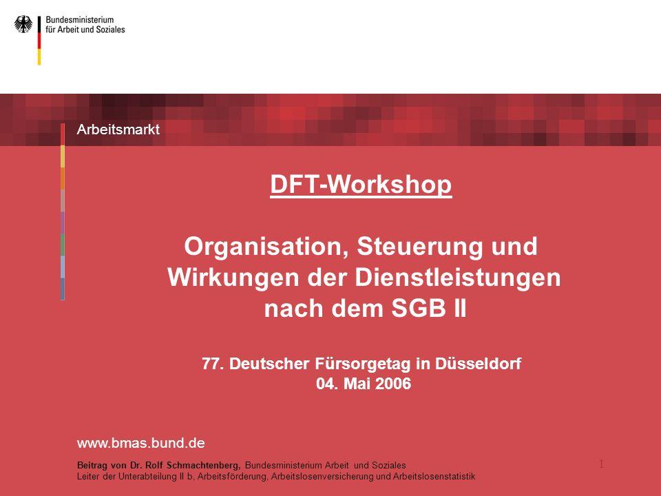 1 Arbeitsmarkt DFT-Workshop Organisation, Steuerung und Wirkungen der Dienstleistungen nach dem SGB II 77.