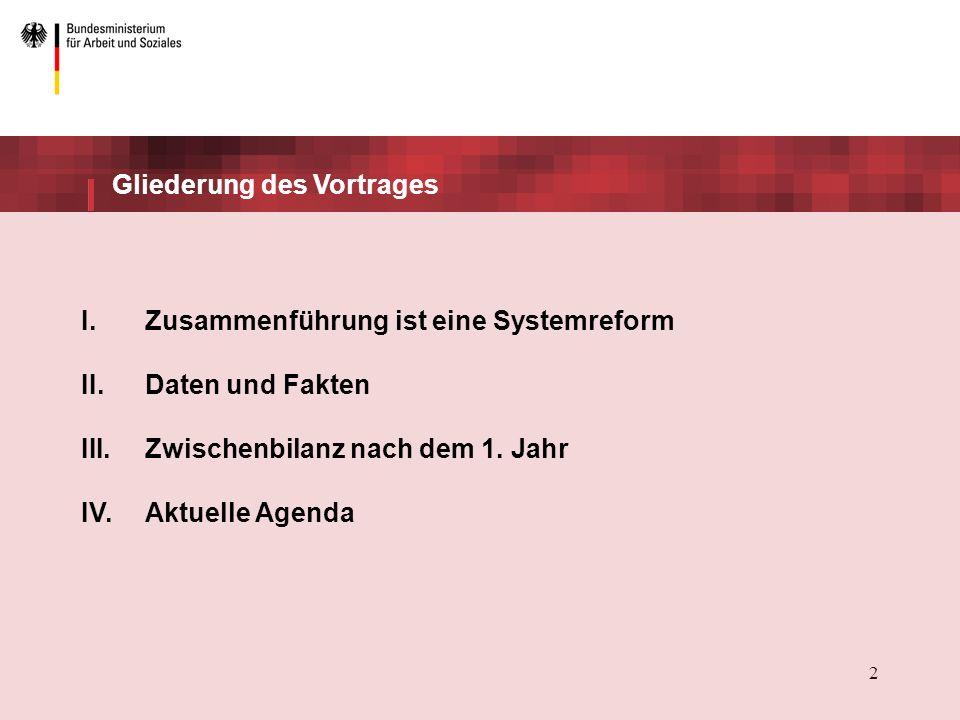 2 Gliederung des Vortrages I.Zusammenführung ist eine Systemreform II.Daten und Fakten III.Zwischenbilanz nach dem 1.