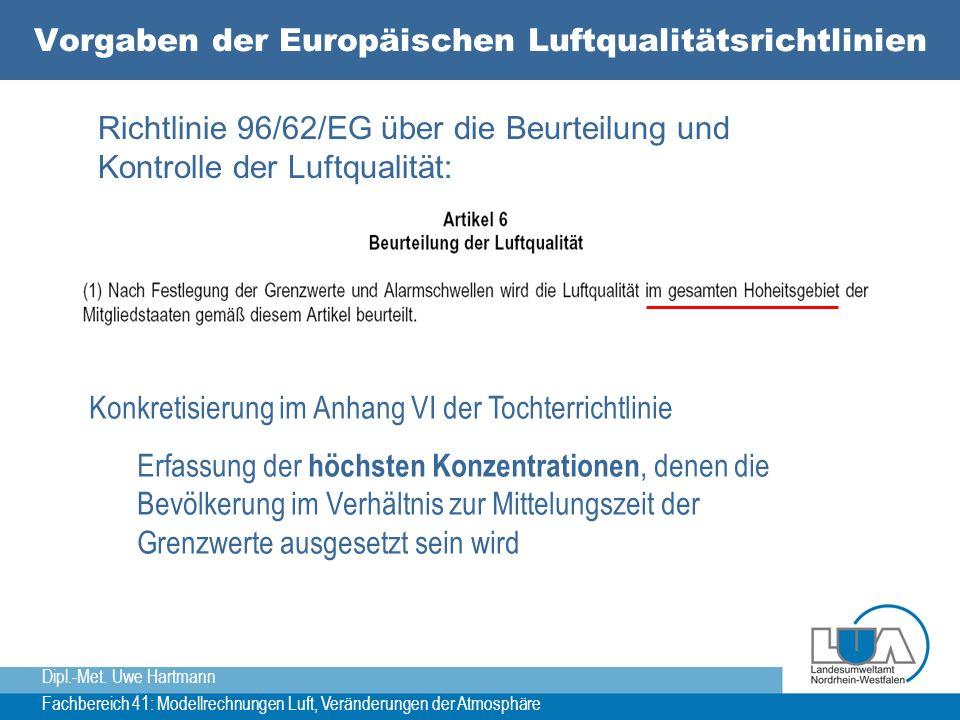 Dipl.-Met. Uwe Hartmann Fachbereich 41: Modellrechnungen Luft, Veränderungen der Atmosphäre Vorgaben der Europäischen Luftqualitätsrichtlinien Richtli