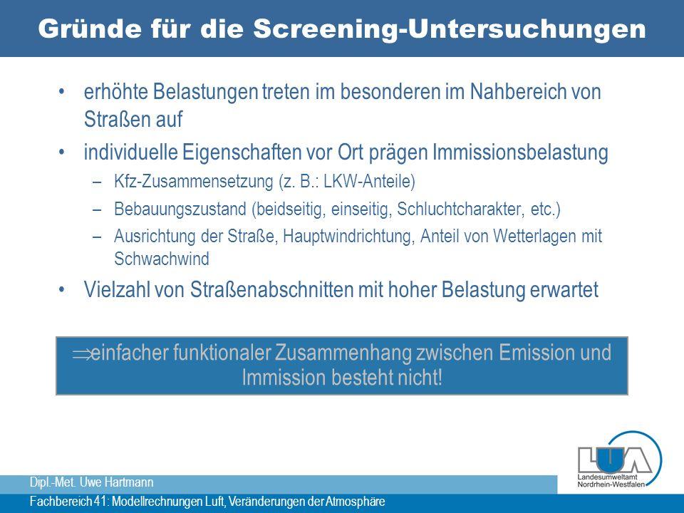 Dipl.-Met. Uwe Hartmann Fachbereich 41: Modellrechnungen Luft, Veränderungen der Atmosphäre Gründe für die Screening-Untersuchungen erhöhte Belastunge