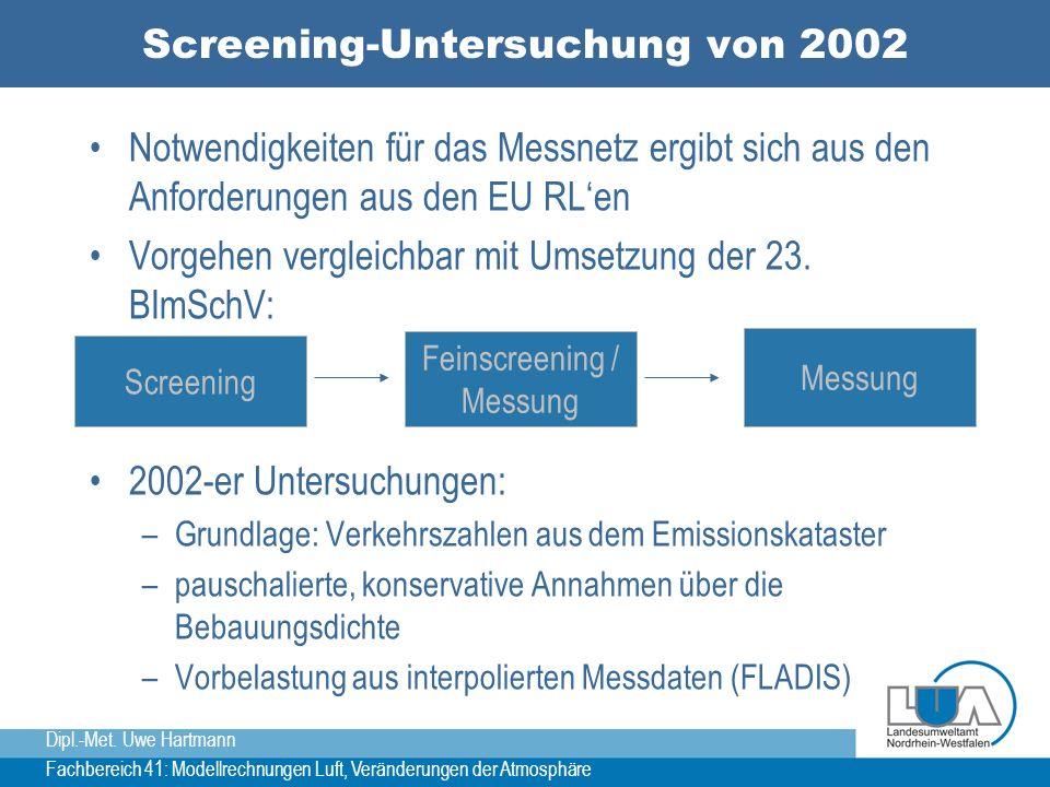 Dipl.-Met. Uwe Hartmann Fachbereich 41: Modellrechnungen Luft, Veränderungen der Atmosphäre Screening-Untersuchung von 2002 Notwendigkeiten für das Me