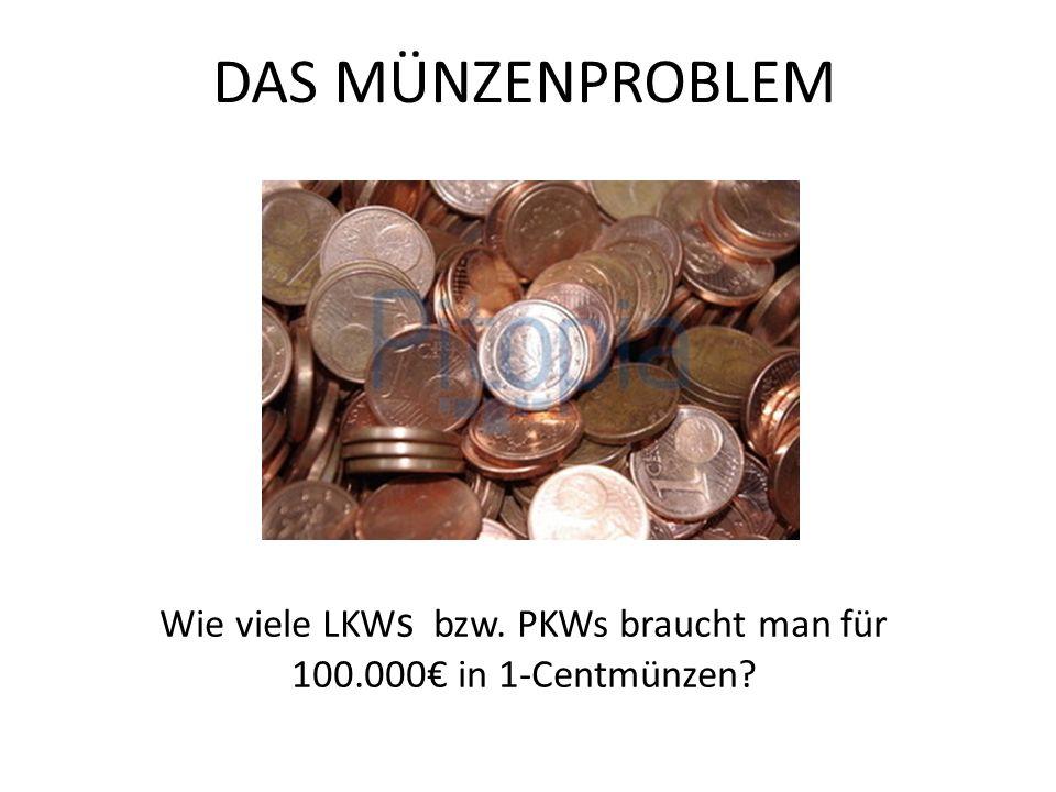 DAS MÜNZENPROBLEM Wie viele LKW s bzw. PKWs braucht man für 100.000 in 1-Centmünzen?