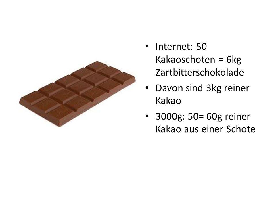 Internet: 50 Kakaoschoten = 6kg Zartbitterschokolade Davon sind 3kg reiner Kakao 3000g: 50= 60g reiner Kakao aus einer Schote