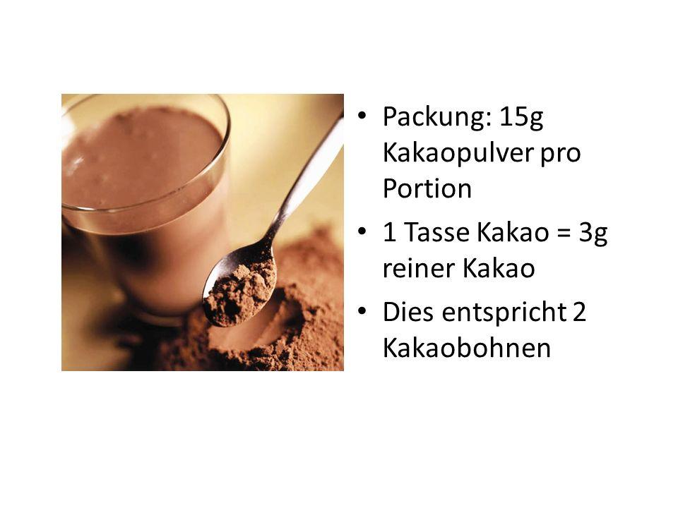 Packung: 15g Kakaopulver pro Portion 1 Tasse Kakao = 3g reiner Kakao Dies entspricht 2 Kakaobohnen