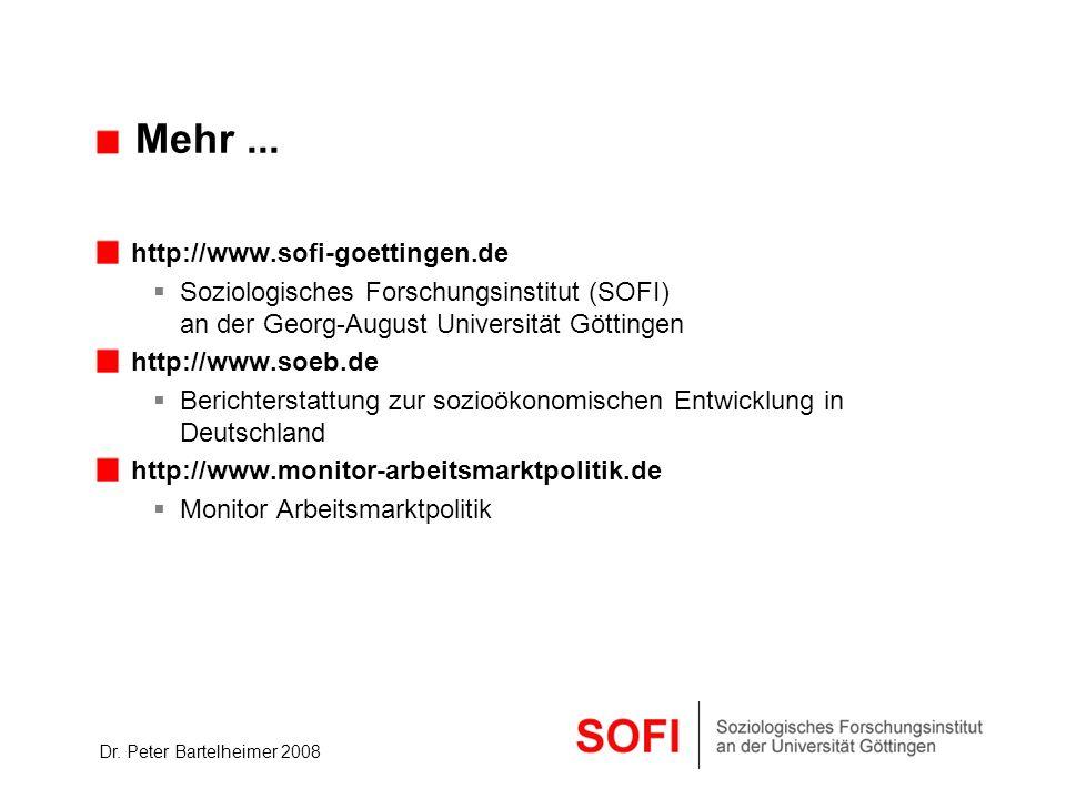 Dr. Peter Bartelheimer 2008 Mehr... http://www.sofi-goettingen.de Soziologisches Forschungsinstitut (SOFI) an der Georg-August Universität Göttingen h