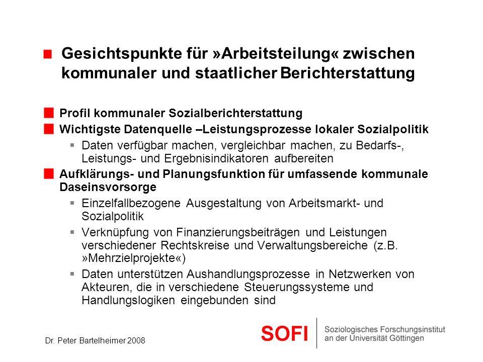 Dr. Peter Bartelheimer 2008 Gesichtspunkte für »Arbeitsteilung« zwischen kommunaler und staatlicher Berichterstattung Profil kommunaler Sozialberichte