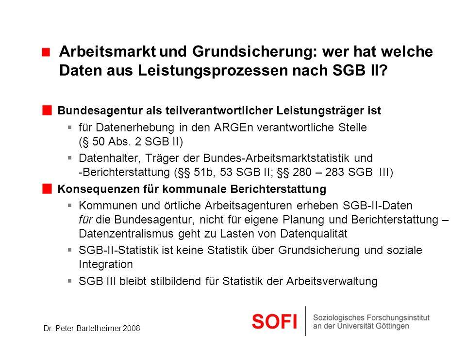 Dr. Peter Bartelheimer 2008 Arbeitsmarkt und Grundsicherung: wer hat welche Daten aus Leistungsprozessen nach SGB II? Bundesagentur als teilverantwort