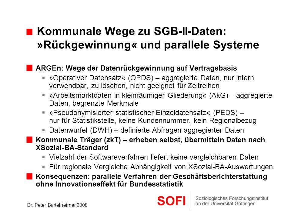 Dr. Peter Bartelheimer 2008 Kommunale Wege zu SGB-II-Daten: »Rückgewinnung« und parallele Systeme ARGEn: Wege der Datenrückgewinnung auf Vertragsbasis