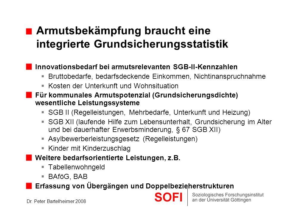 Dr. Peter Bartelheimer 2008 Armutsbekämpfung braucht eine integrierte Grundsicherungsstatistik Innovationsbedarf bei armutsrelevanten SGB-II-Kennzahle