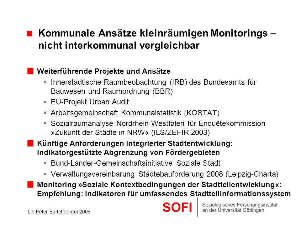 Dr. Peter Bartelheimer 2008 Kommunale Ansätze kleinräumigen Monitorings – nicht interkommunal vergleichbar Weiterführende Projekte und Ansätze Innerst