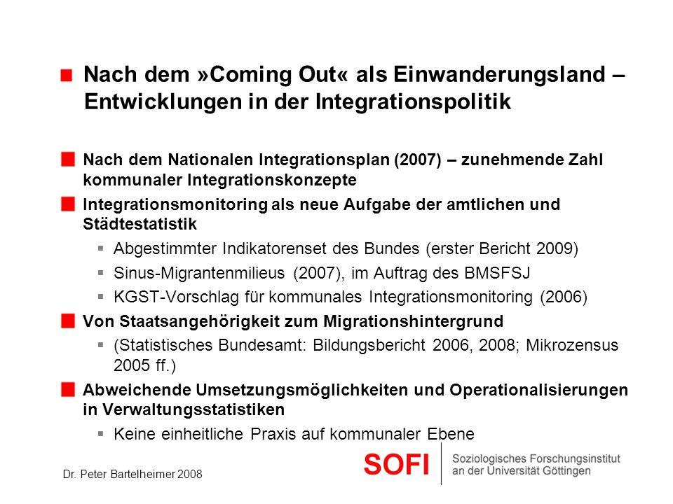 Dr. Peter Bartelheimer 2008 Nach dem »Coming Out« als Einwanderungsland – Entwicklungen in der Integrationspolitik Nach dem Nationalen Integrationspla