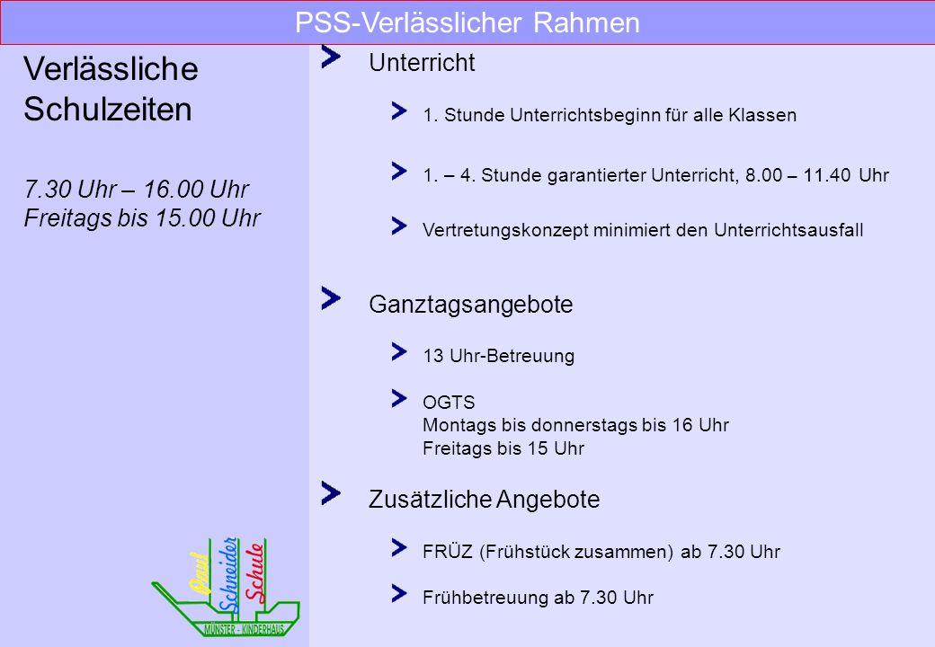 PSS Wichtiges und Wissenswertes über unsere Schule Paul-Schneider-Schule Städt. evangelische Grundschule Pastorsesch 34, 48159 Münster