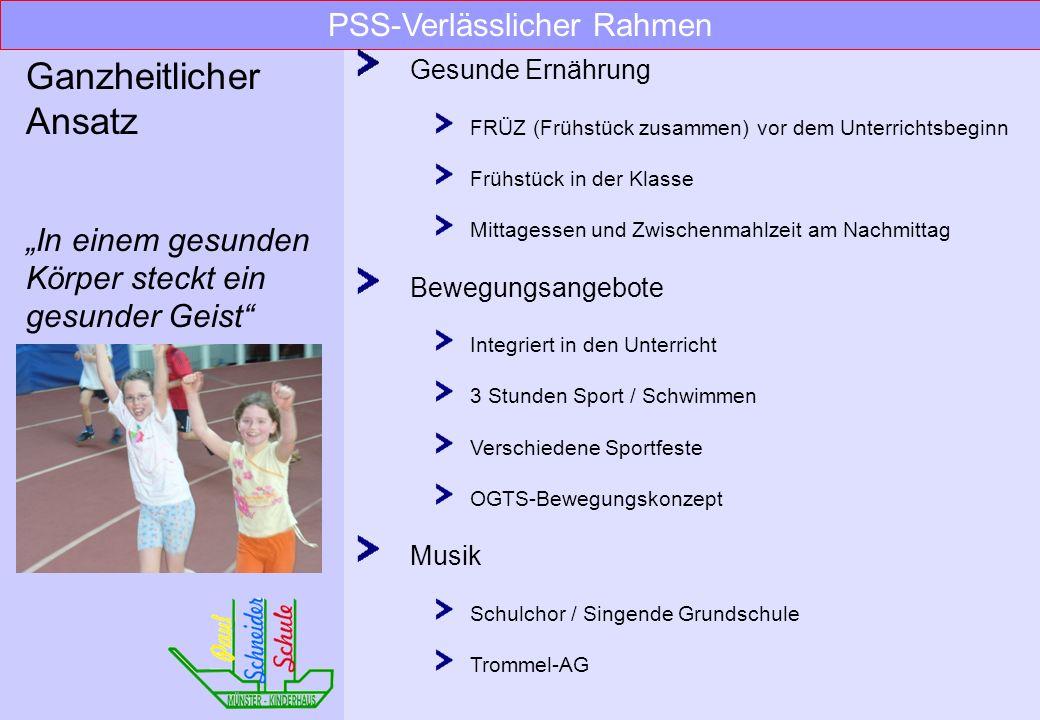 PSS-Verlässlicher Rahmen Unterricht 1. Stunde Unterrichtsbeginn für alle Klassen 1. – 4. Stunde garantierter Unterricht, 8.00 – 11.40 Uhr Vertretungsk