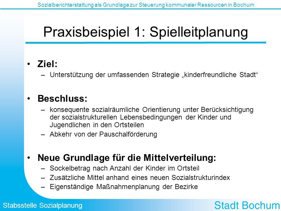 Stabsstelle Sozialplanung Sozialberichterstattung als Grundlage zur Steuerung kommunaler Ressourcen in Bochum Praxisbeispiel 1: Spielleitplanung Ziel: