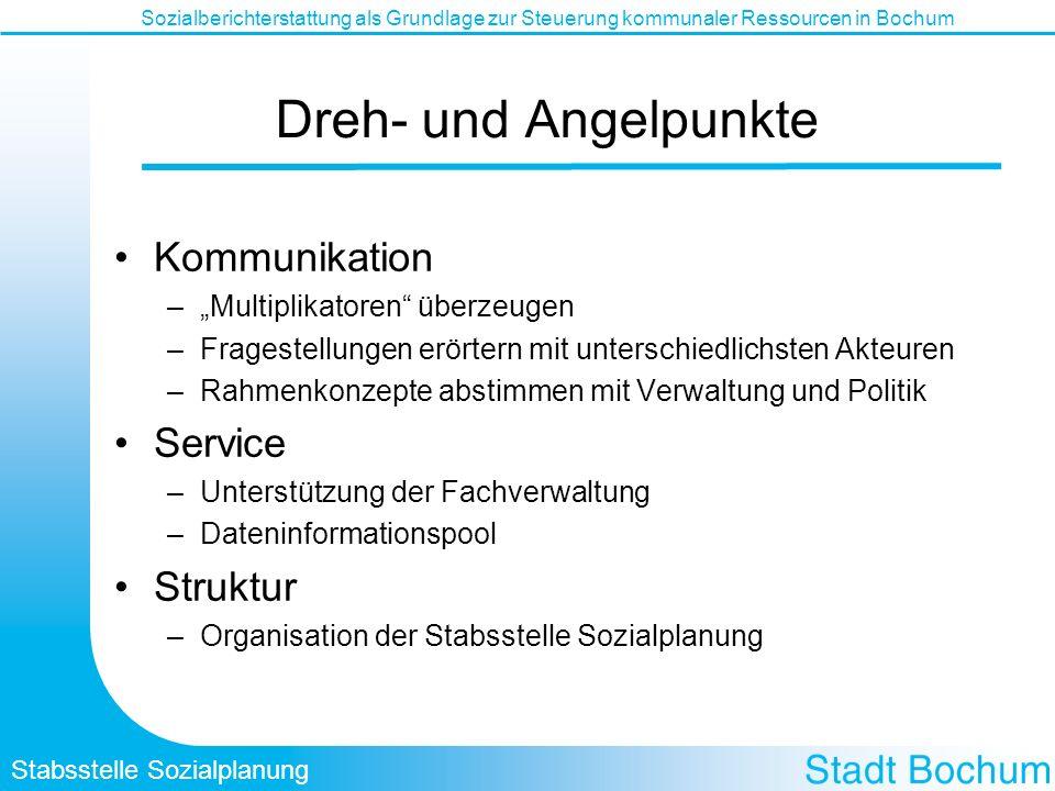 Stabsstelle Sozialplanung Sozialberichterstattung als Grundlage zur Steuerung kommunaler Ressourcen in Bochum Dreh- und Angelpunkte Kommunikation –Mul