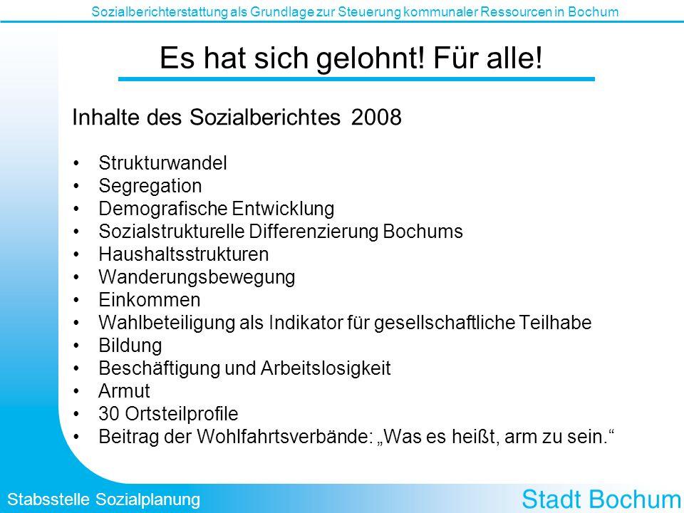 Stabsstelle Sozialplanung Sozialberichterstattung als Grundlage zur Steuerung kommunaler Ressourcen in Bochum Es hat sich gelohnt! Für alle! Strukturw