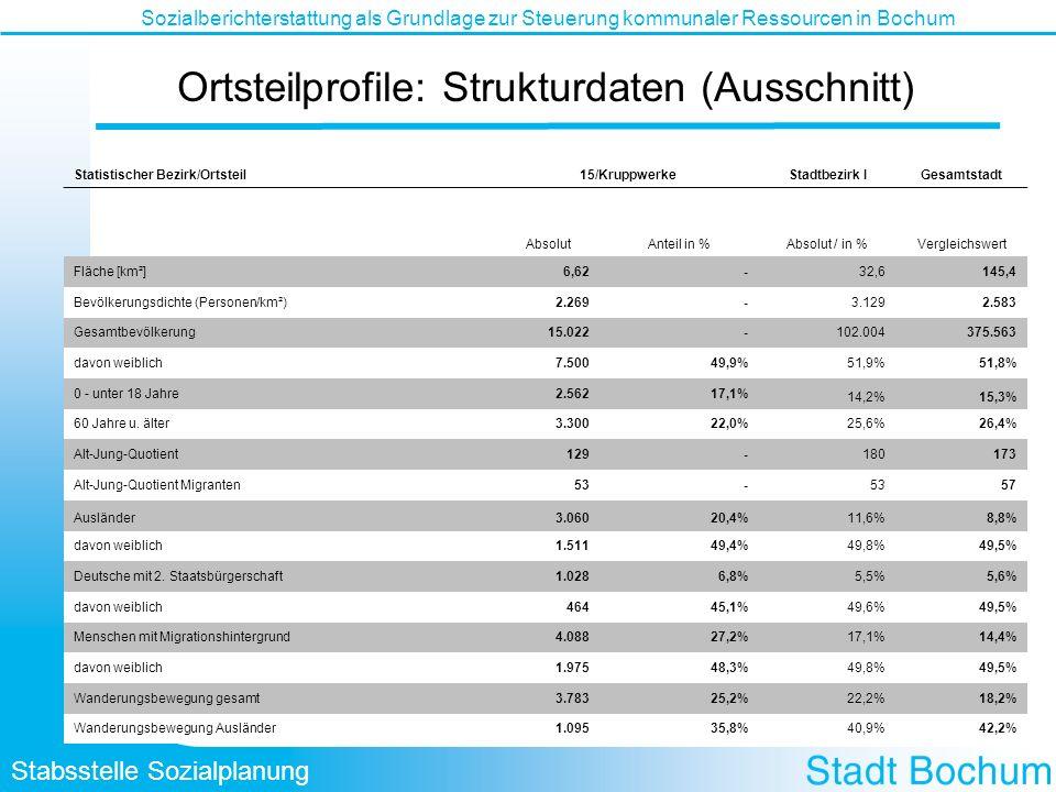 Stabsstelle Sozialplanung Sozialberichterstattung als Grundlage zur Steuerung kommunaler Ressourcen in Bochum Ortsteilprofile: Strukturdaten (Ausschni