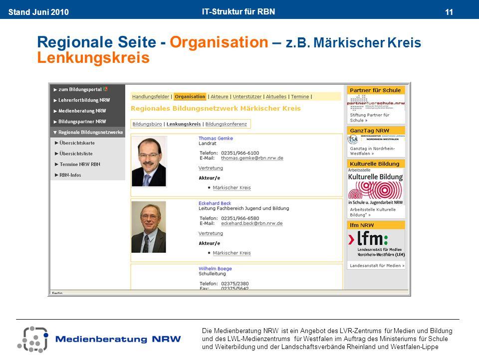 IT-Struktur für RBN 11Stand Juni 2010 Die Medienberatung NRW ist ein Angebot des LVR-Zentrums für Medien und Bildung und des LWL-Medienzentrums für Westfalen im Auftrag des Ministeriums für Schule und Weiterbildung und der Landschaftsverbände Rheinland und Westfalen-Lippe Regionale Seite - Organisation – z.B.