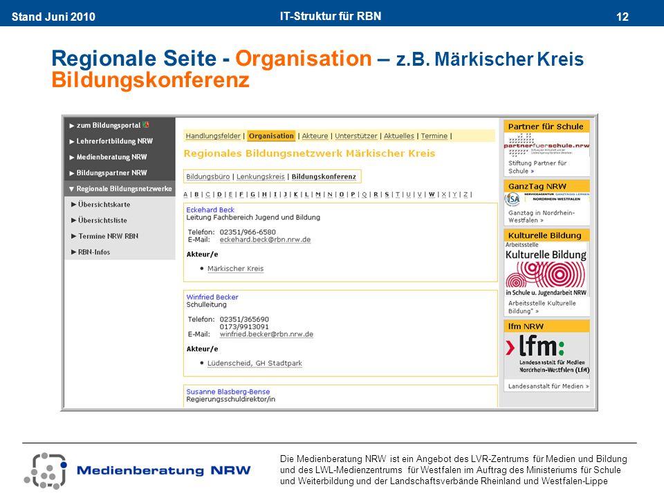 IT-Struktur für RBN 12Stand Juni 2010 Die Medienberatung NRW ist ein Angebot des LVR-Zentrums für Medien und Bildung und des LWL-Medienzentrums für Westfalen im Auftrag des Ministeriums für Schule und Weiterbildung und der Landschaftsverbände Rheinland und Westfalen-Lippe Regionale Seite - Organisation – z.B.