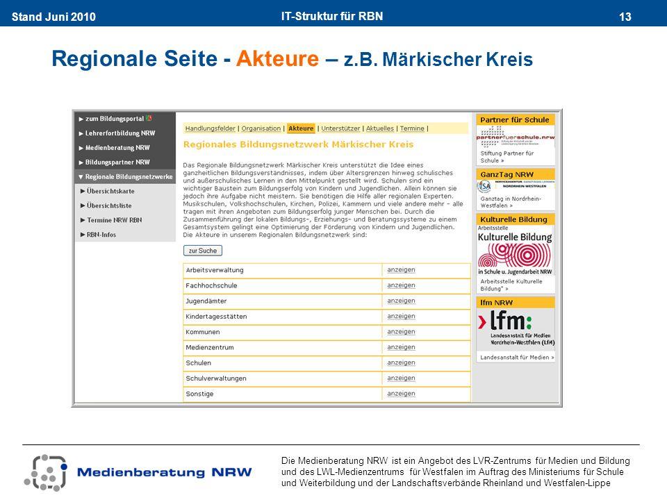 IT-Struktur für RBN 13Stand Juni 2010 Die Medienberatung NRW ist ein Angebot des LVR-Zentrums für Medien und Bildung und des LWL-Medienzentrums für Westfalen im Auftrag des Ministeriums für Schule und Weiterbildung und der Landschaftsverbände Rheinland und Westfalen-Lippe Regionale Seite - Akteure – z.B.