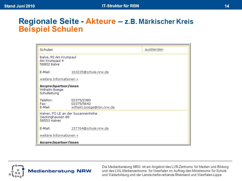 IT-Struktur für RBN 14Stand Juni 2010 Die Medienberatung NRW ist ein Angebot des LVR-Zentrums für Medien und Bildung und des LWL-Medienzentrums für Westfalen im Auftrag des Ministeriums für Schule und Weiterbildung und der Landschaftsverbände Rheinland und Westfalen-Lippe Regionale Seite - Akteure – z.B.