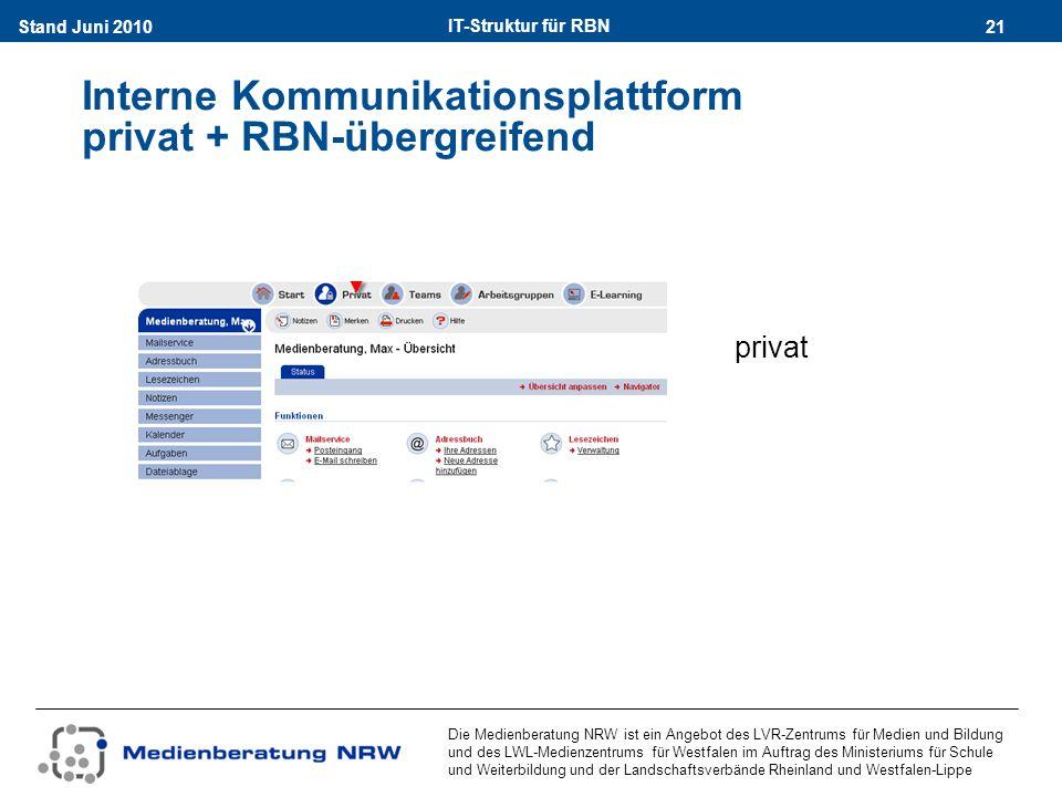 IT-Struktur für RBN 21Stand Juni 2010 Die Medienberatung NRW ist ein Angebot des LVR-Zentrums für Medien und Bildung und des LWL-Medienzentrums für Westfalen im Auftrag des Ministeriums für Schule und Weiterbildung und der Landschaftsverbände Rheinland und Westfalen-Lippe Interne Kommunikationsplattform privat + RBN-übergreifend privat
