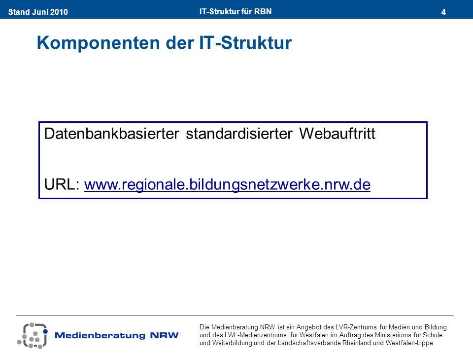 IT-Struktur für RBN 4Stand Juni 2010 Die Medienberatung NRW ist ein Angebot des LVR-Zentrums für Medien und Bildung und des LWL-Medienzentrums für Westfalen im Auftrag des Ministeriums für Schule und Weiterbildung und der Landschaftsverbände Rheinland und Westfalen-Lippe Komponenten der IT-Struktur Datenbankbasierter standardisierter Webauftritt URL: www.regionale.bildungsnetzwerke.nrw.dewww.regionale.bildungsnetzwerke.nrw.de