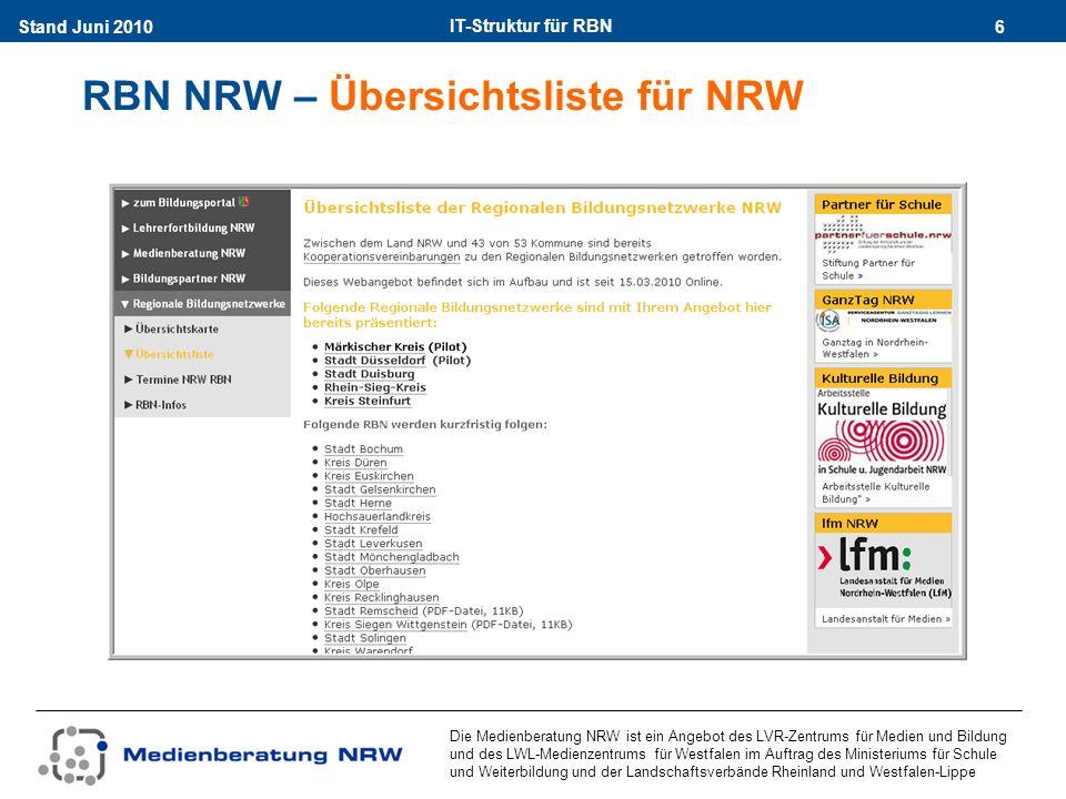 IT-Struktur für RBN 17Stand Juni 2010 Die Medienberatung NRW ist ein Angebot des LVR-Zentrums für Medien und Bildung und des LWL-Medienzentrums für Westfalen im Auftrag des Ministeriums für Schule und Weiterbildung und der Landschaftsverbände Rheinland und Westfalen-Lippe Regionale Seite - Termine – z.B.