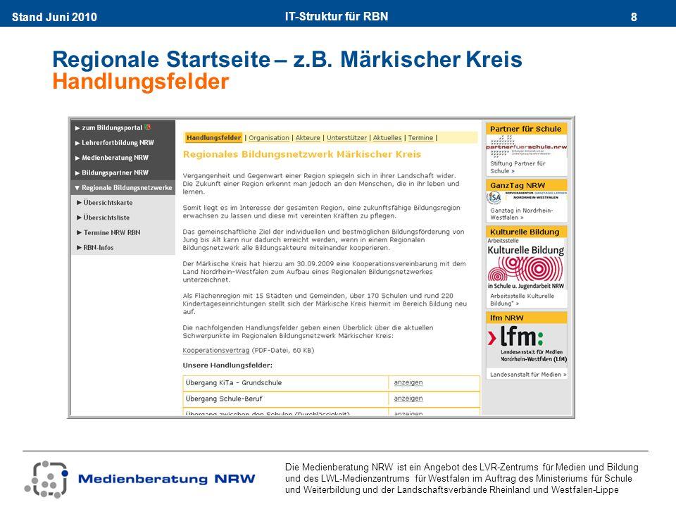 IT-Struktur für RBN 19Stand Juni 2010 Die Medienberatung NRW ist ein Angebot des LVR-Zentrums für Medien und Bildung und des LWL-Medienzentrums für Westfalen im Auftrag des Ministeriums für Schule und Weiterbildung und der Landschaftsverbände Rheinland und Westfalen-Lippe Quelle der Angaben für die Webseiten alle Seiten des Webauftritts generieren sich aus einer Datenbank Überblick über die Redaktionsübersicht der DatenbankDatenbank Zugangsdaten zur Datenbank erhalten dir RBN nach der verbindlichen Anmeldung durch die Medienberatung NRW URL: https://wcm.lvr.de/rbn/adminhttps://wcm.lvr.de/rbn/admin Hilfe unter www.rbn-hilfe.nrw.dewww.rbn-hilfe.nrw.de
