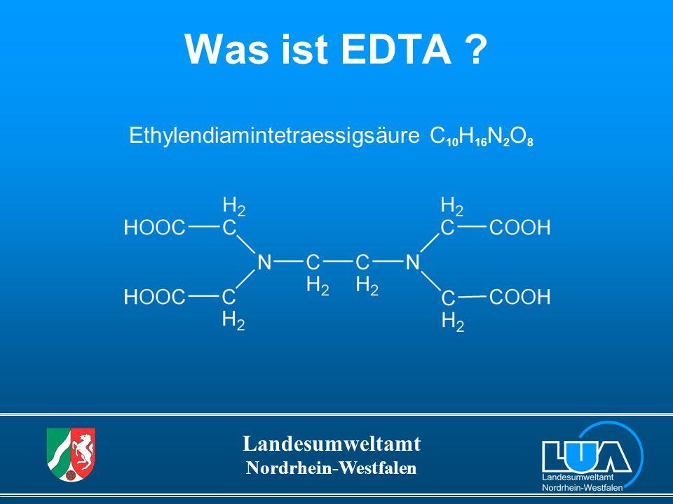 Landesumweltamt Nordrhein-Westfalen Ergebnisse EDTA-Immissionsmessungen Anzahl der Messstellen84 Gesamtzahl der Messwerte2.369 Anzahl der Messwerte über der Bestimmungsgrenze2.055 Messwerte >10 µg/L809 Maximum in µg/L980 90-Perzentil in µg/L29 1/12