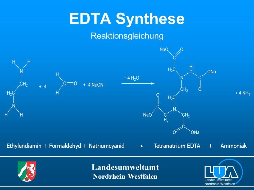 Landesumweltamt Nordrhein-Westfalen EDTA ist ein naturfremder Stoff, wird über die verschiedensten Abwasserpfade in die Oberflächengewässer eingetragen kommt im Wasser in sehr hohen Konzentrationen vor (Oberflächengewässer, Grundwasser) 1/3
