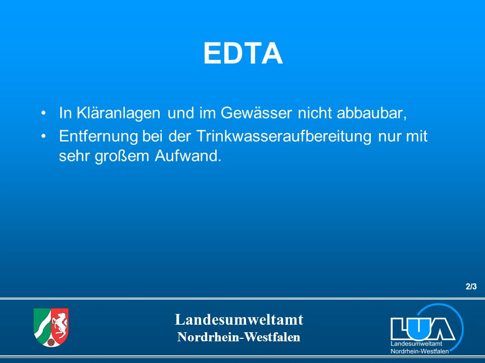 Landesumweltamt Nordrhein-Westfalen Ergebnisse EDTA-Emissionsmessungen Anzahl der Messstellen100 Gesamtzahl der Messwerte1.296 Messwerte > 10 µg/L 1.250 Maximum in µg/L13.000 90-Perzentil in µg/L253 4/12