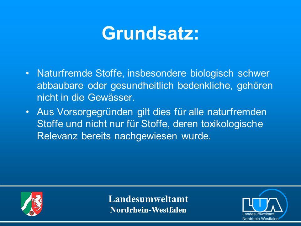 Landesumweltamt Nordrhein-Westfalen Selbstverpflichtungserklärung (BMU 1991) einiger Industrieverbände: Reduzierung der Gewässerbelastung: Halbierung der Fracht in 5 Jahren.