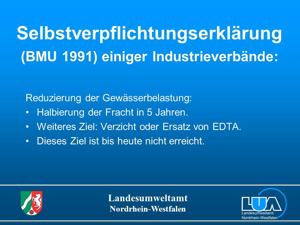 Landesumweltamt Nordrhein-Westfalen Verhalten in der Umwelt Remobilisierung von Schwermetallen aus Flusssedimenten ist in den Gewässern unwahrscheinlich: EDTA liegt bereits im Abwasser als Schwermetallkomplex vor.