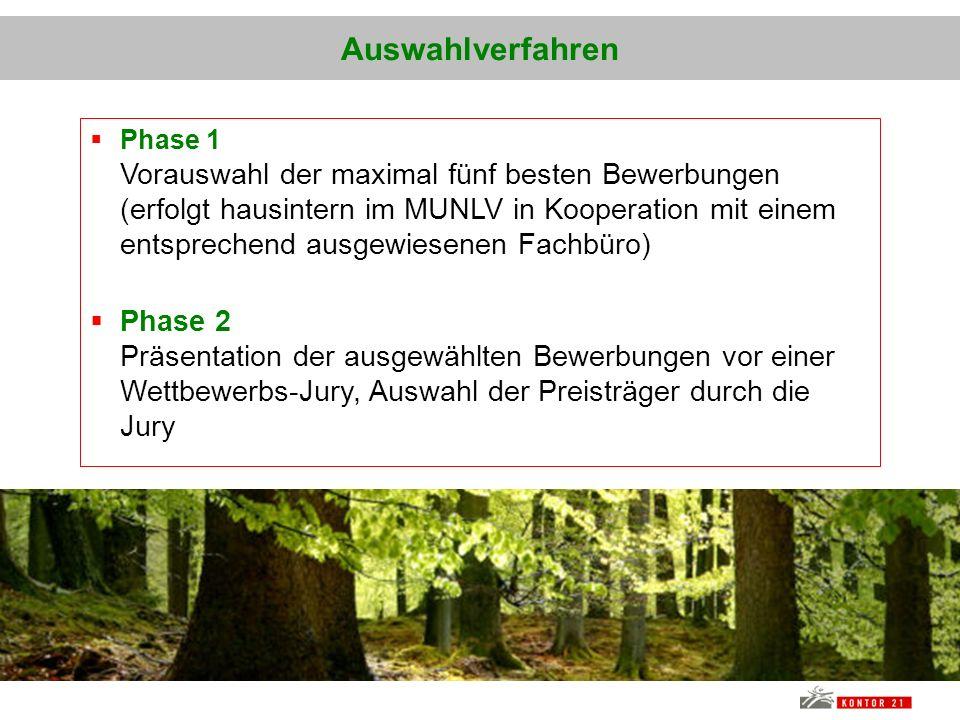 Auswahlverfahren Phase 1 Vorauswahl der maximal fünf besten Bewerbungen (erfolgt hausintern im MUNLV in Kooperation mit einem entsprechend ausgewiesen