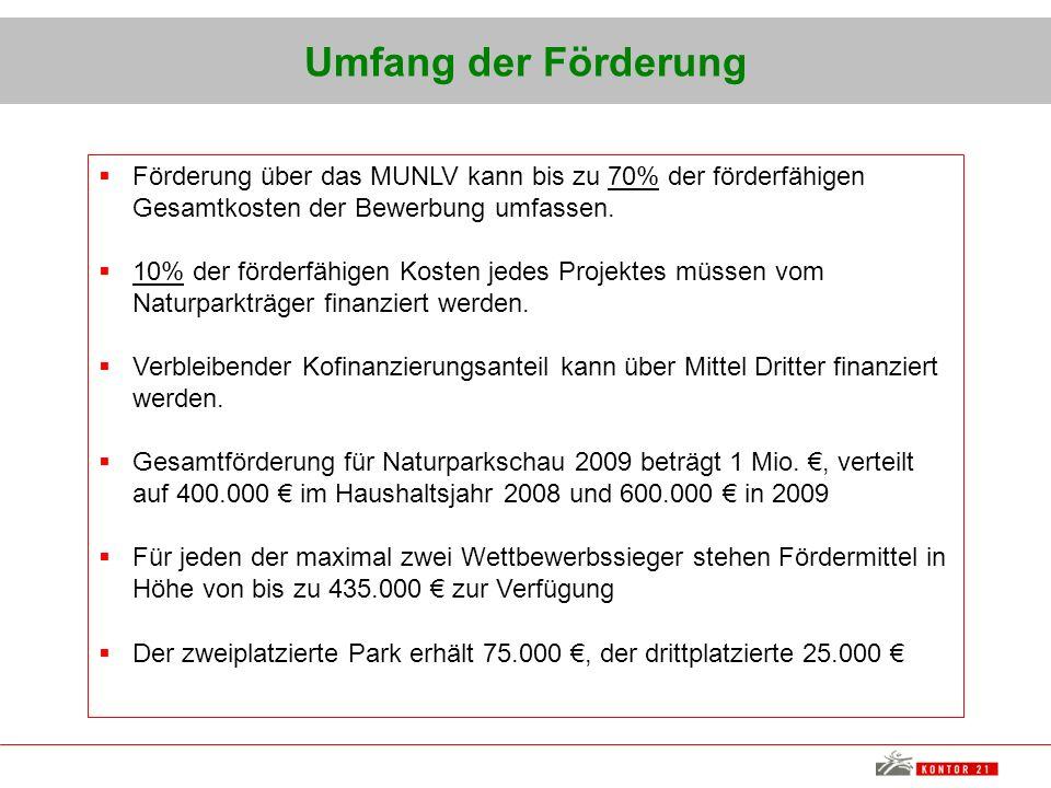 Umfang der Förderung Förderung über das MUNLV kann bis zu 70% der förderfähigen Gesamtkosten der Bewerbung umfassen. 10% der förderfähigen Kosten jede