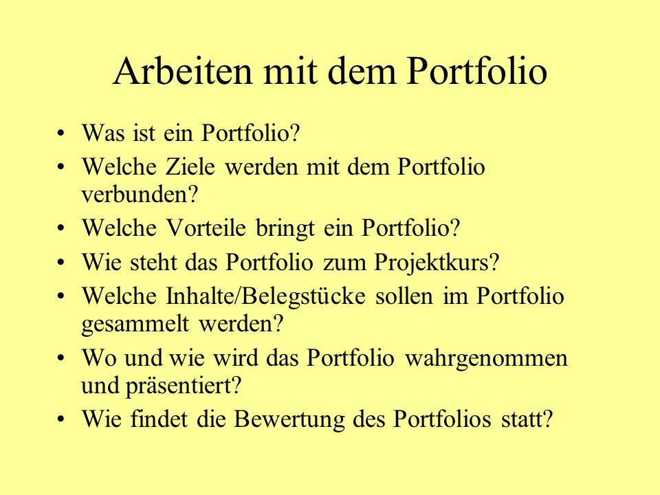 Arbeiten mit dem Portfolio Was ist ein Portfolio? Welche Ziele werden mit dem Portfolio verbunden? Welche Vorteile bringt ein Portfolio? Wie steht das