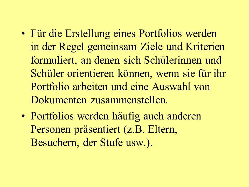 Welche Ziele werden mit dem Portfolio verbunden.