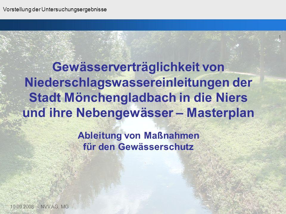 Vorstellung der Untersuchungsergebnisse 1 10.09.2008 – NVV AG, MG Gewässerverträglichkeit von Niederschlagswassereinleitungen der Stadt Mönchengladbac