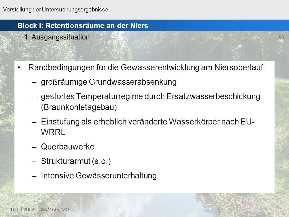 Vorstellung der Untersuchungsergebnisse 10 10.09.2008 – NVV AG, MG Randbedingungen für die Gewässerentwicklung am Niersoberlauf: –großräumige Grundwas