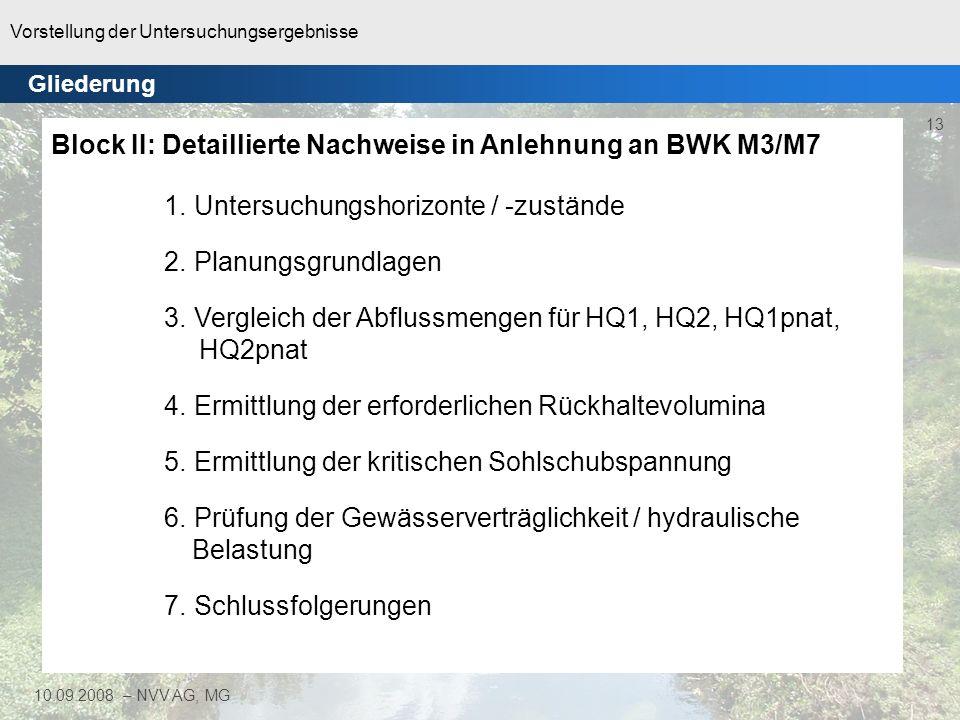 Vorstellung der Untersuchungsergebnisse 13 10.09.2008 – NVV AG, MG Gliederung Block II: Detaillierte Nachweise in Anlehnung an BWK M3/M7 1. Untersuchu