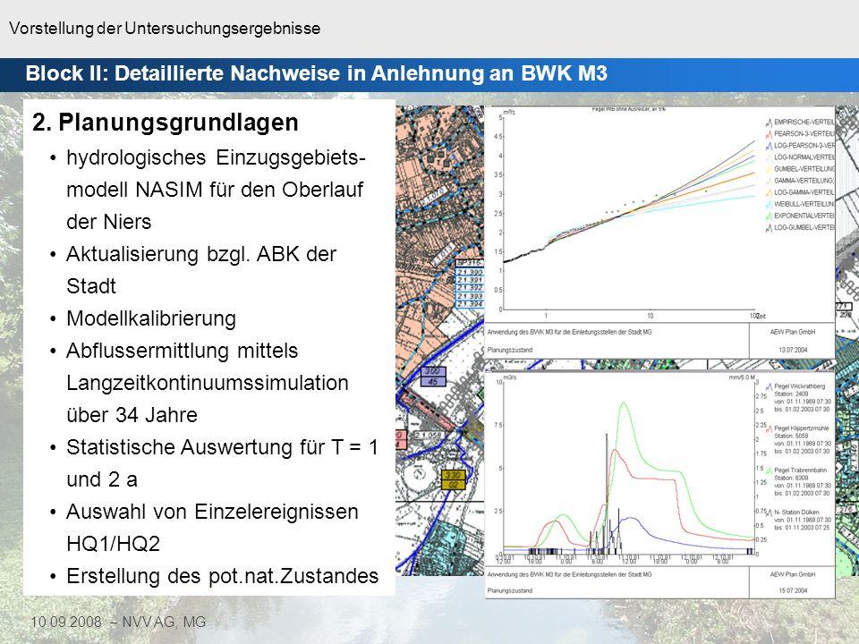 Vorstellung der Untersuchungsergebnisse 15 10.09.2008 – NVV AG, MG Block II: Detaillierte Nachweise in Anlehnung an BWK M3 2. Planungsgrundlagen hydro