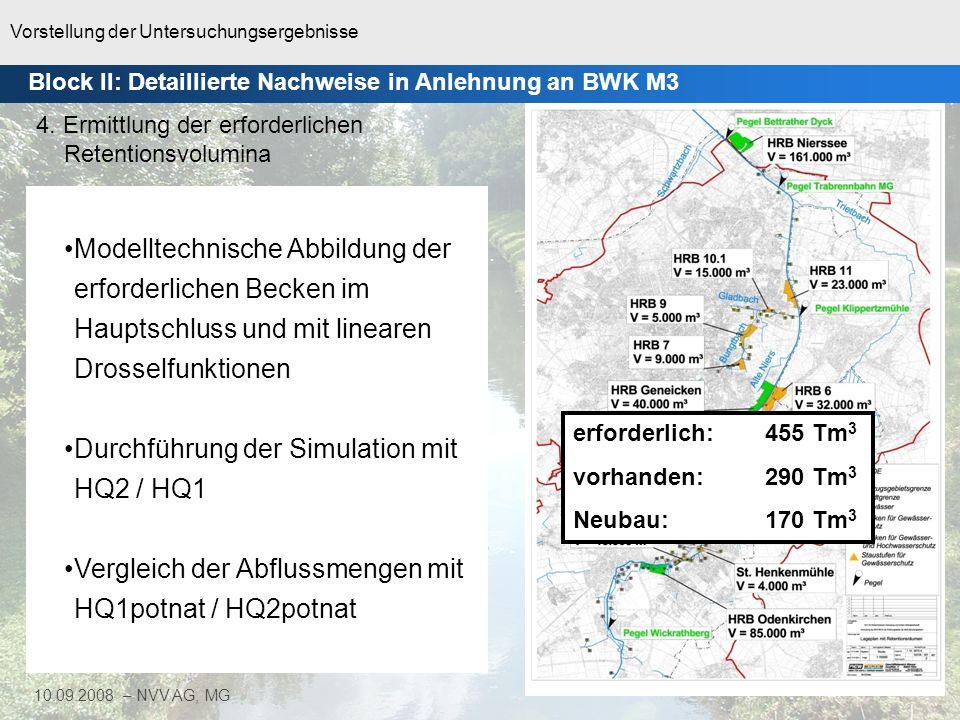 Vorstellung der Untersuchungsergebnisse 18 10.09.2008 – NVV AG, MG Block II: Detaillierte Nachweise in Anlehnung an BWK M3
