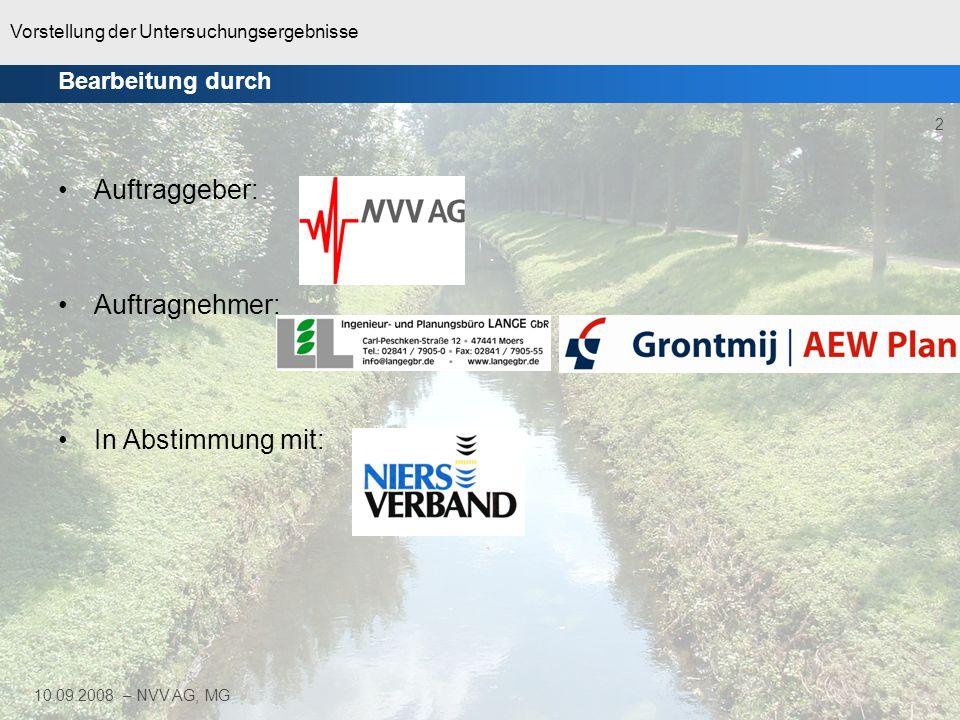 Vorstellung der Untersuchungsergebnisse 2 10.09.2008 – NVV AG, MG Auftraggeber: Auftragnehmer: In Abstimmung mit: Bearbeitung durch
