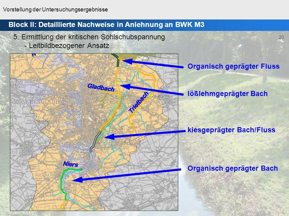 Vorstellung der Untersuchungsergebnisse 20 10.09.2008 – NVV AG, MG 5. Ermittlung der kritischen Sohlschubspannung - Leitbildbezogener Ansatz Organisch