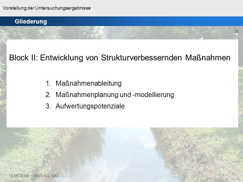 Vorstellung der Untersuchungsergebnisse 26 10.09.2008 – NVV AG, MG Block II: Entwicklung von Strukturverbessernden Maßnahmen 1.Maßnahmenableitung 2.Ma