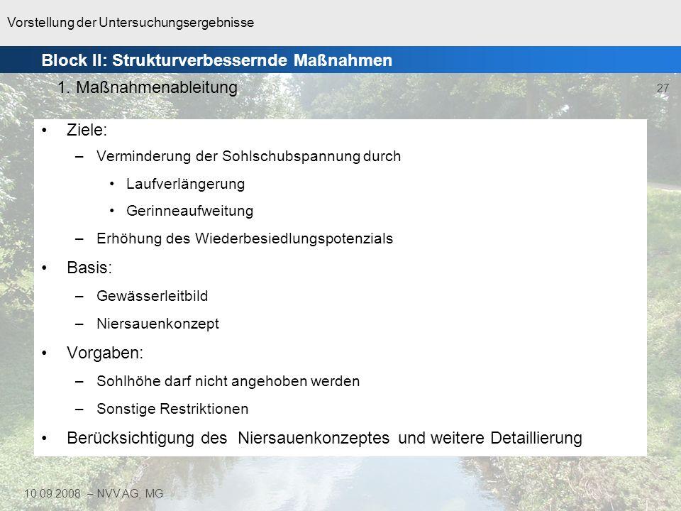 Vorstellung der Untersuchungsergebnisse 27 10.09.2008 – NVV AG, MG Ziele: –Verminderung der Sohlschubspannung durch Laufverlängerung Gerinneaufweitung