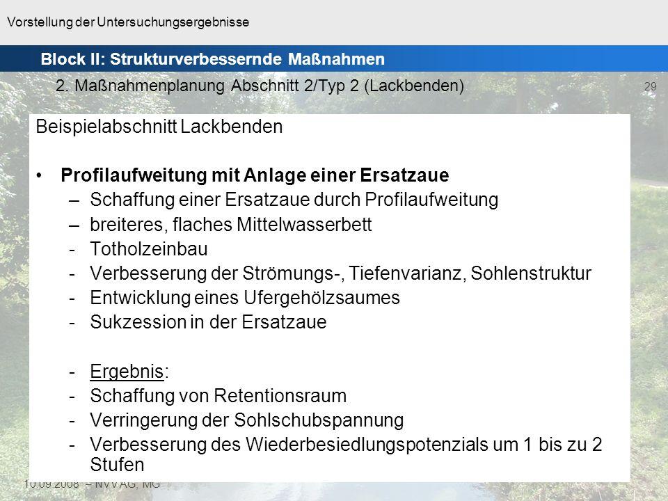 Vorstellung der Untersuchungsergebnisse 30 10.09.2008 – NVV AG, MG Block II: Strukturverbessernde Maßnahmen 2.
