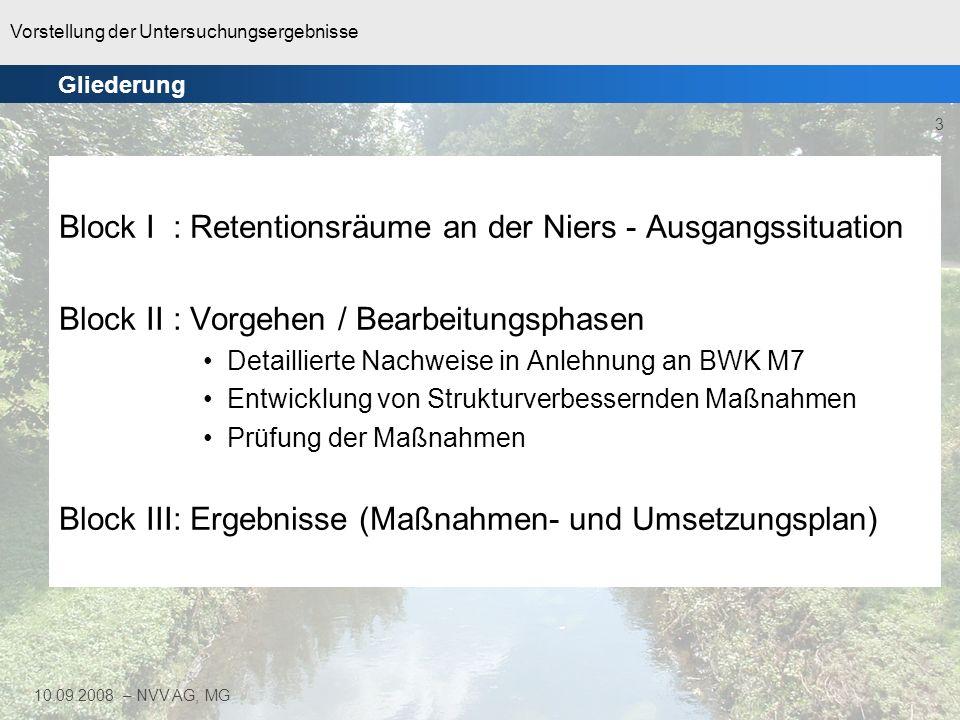 Vorstellung der Untersuchungsergebnisse 3 10.09.2008 – NVV AG, MG Block I : Retentionsräume an der Niers - Ausgangssituation Block II : Vorgehen / Bea