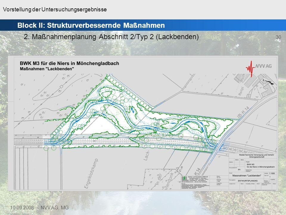 Vorstellung der Untersuchungsergebnisse 30 10.09.2008 – NVV AG, MG Block II: Strukturverbessernde Maßnahmen 2. Maßnahmenplanung Abschnitt 2/Typ 2 (Lac
